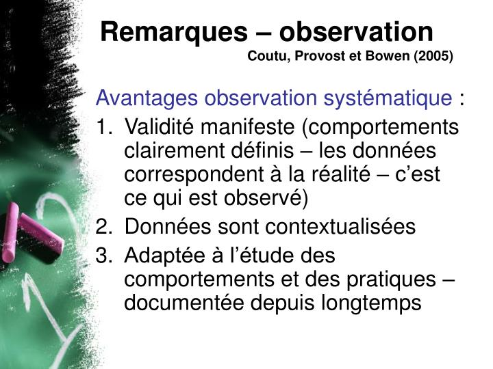 Remarques – observation