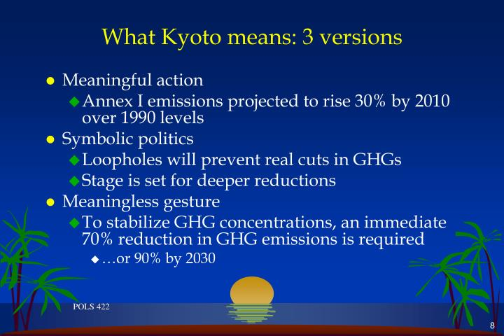What Kyoto means: 3 versions