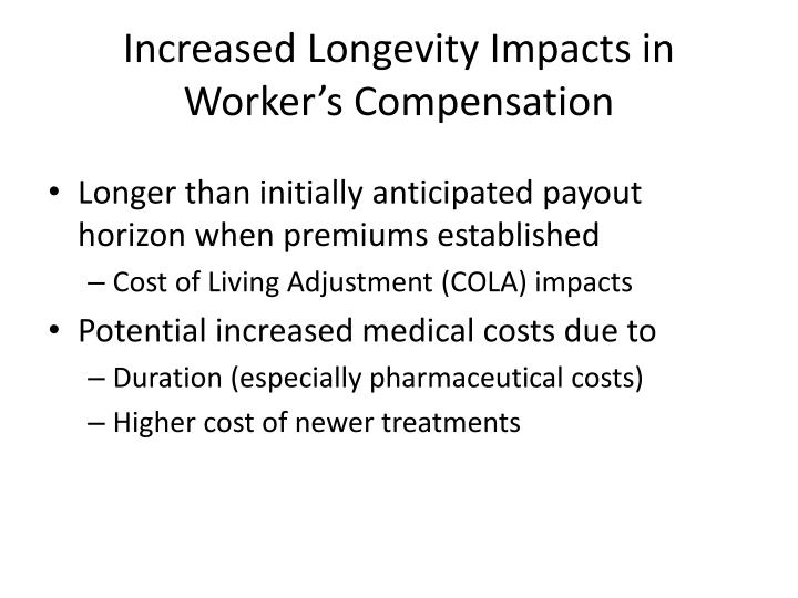Increased Longevity Impacts in Worker's Compensation