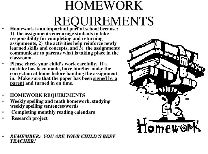 HOMEWORK REQUIREMENTS