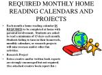 required monthly home reading calendars and projects