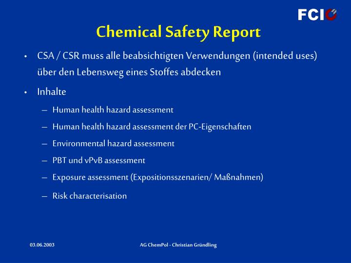 Chemical Safety Report