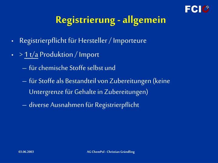 Registrierung - allgemein