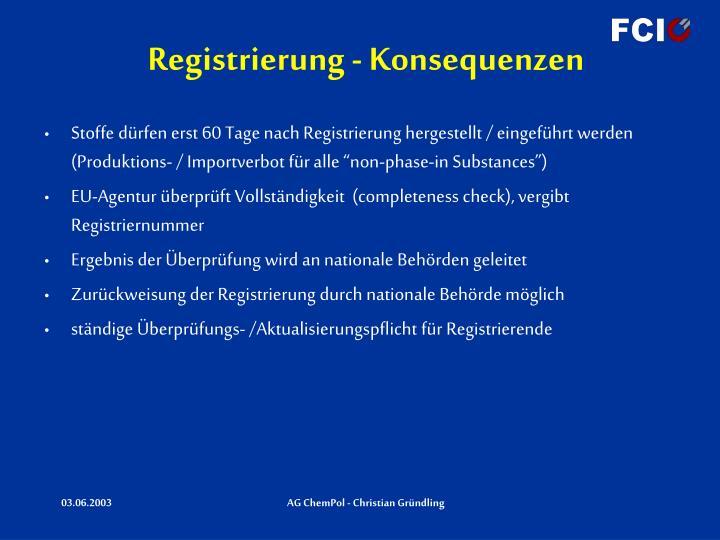 Registrierung - Konsequenzen