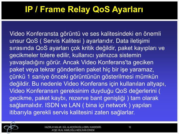 IP / Frame Relay QoS Ayarları