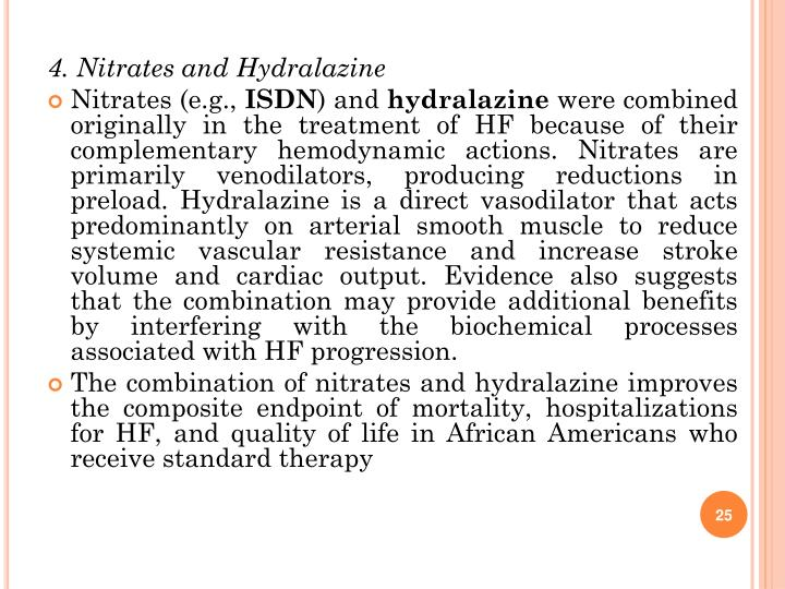 4. Nitrates and Hydralazine