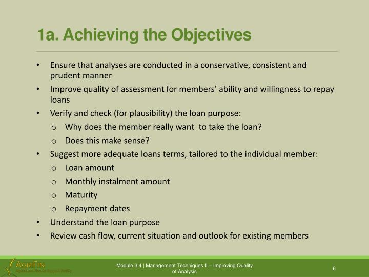 1a. Achieving the Objectives