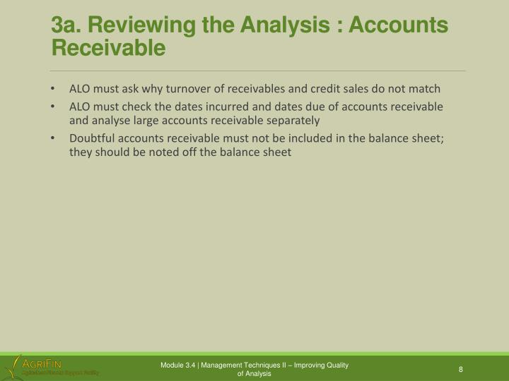 3a. Reviewing the Analysis : Accounts Receivable