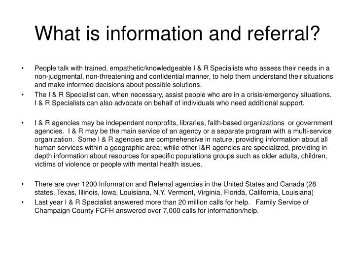 What is information and referral?