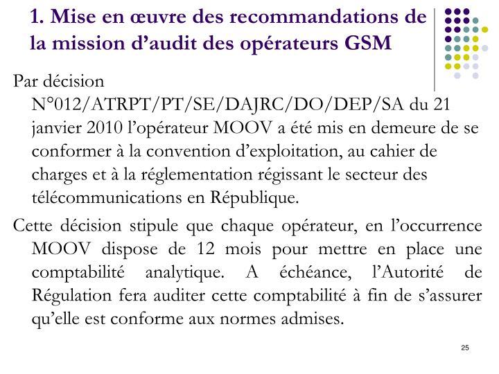 1. Mise en œuvre des recommandations de la mission d'audit des opérateurs GSM