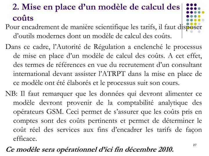 2. Mise en place d'un modèle de calcul des coûts
