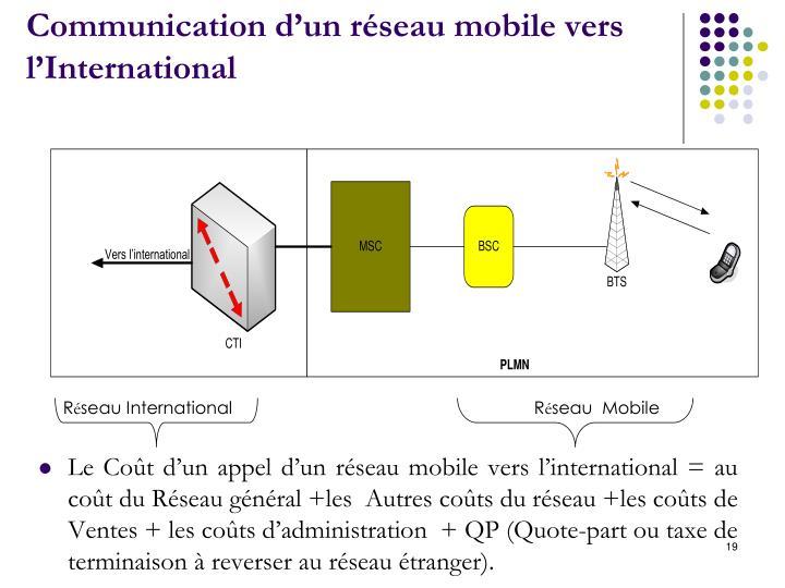 Communication d'un réseau mobile vers l'International