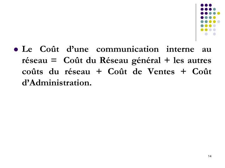 Le Coût d'une communication interne au réseau =  Coût du Réseau général + les autres coûts du réseau + Coût de Ventes + Coût d'Administration.