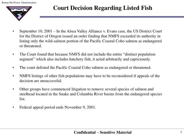 Court Decision Regarding Listed Fish