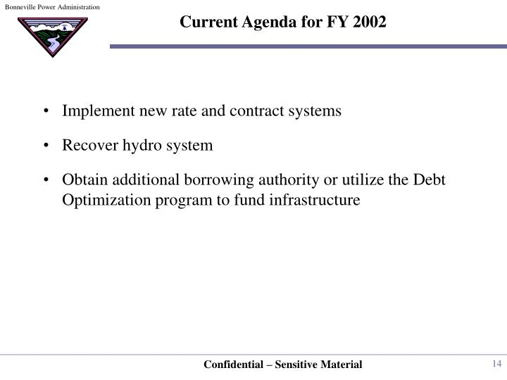 Current Agenda for FY 2002