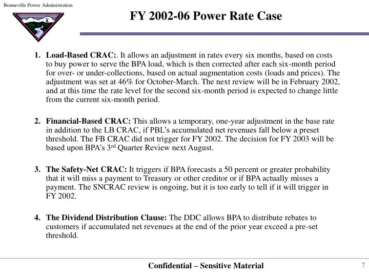 FY 2002-06 Power Rate Case