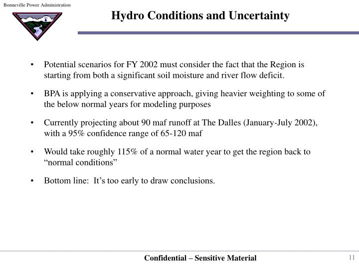 Hydro Conditions and Uncertainty