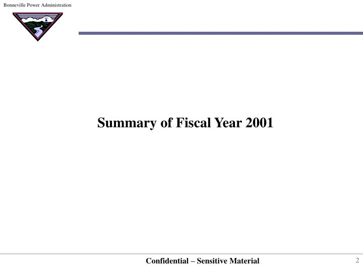 Summary of Fiscal Year 2001