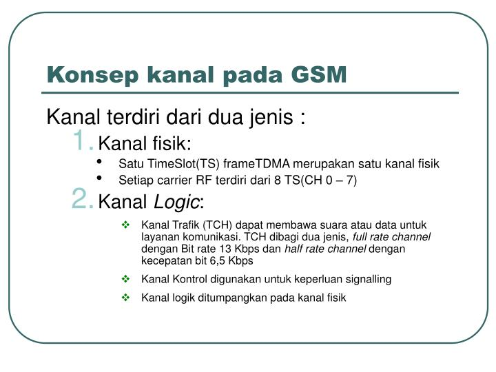 Konsep kanal pada GSM
