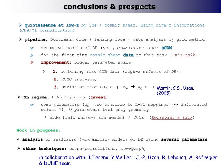 conclusions & prospects