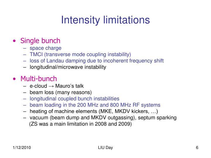 Intensity limitations