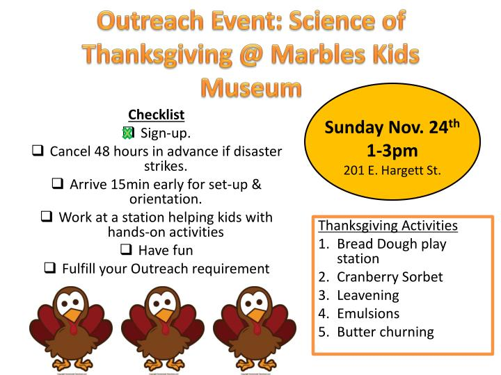 Outreach Event: Science of Thanksgiving @ Marbles Kids Museum