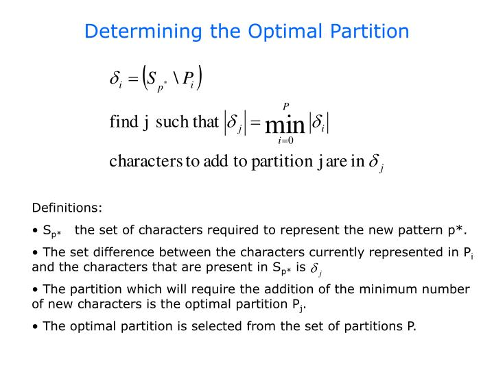 Determining the Optimal Partition