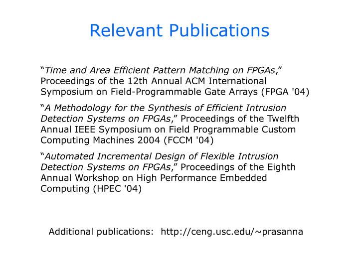 Relevant Publications