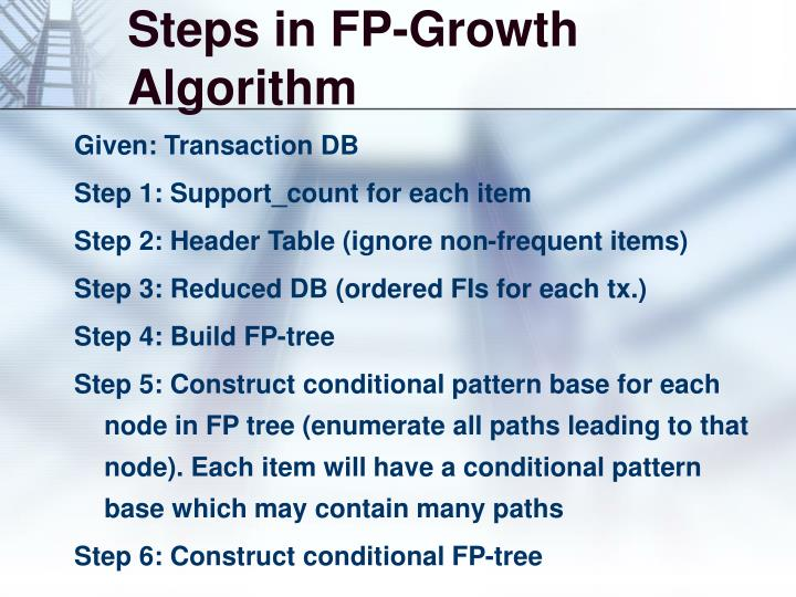 Steps in FP-Growth Algorithm