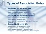 types of association rules