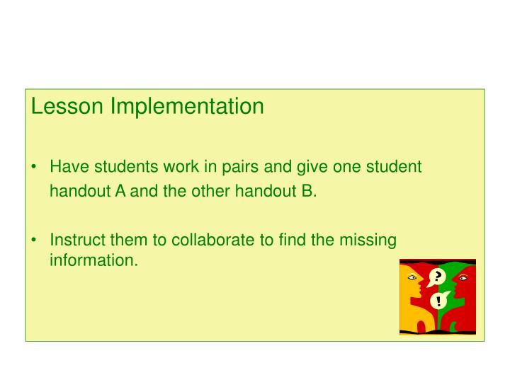 Lesson Implementation