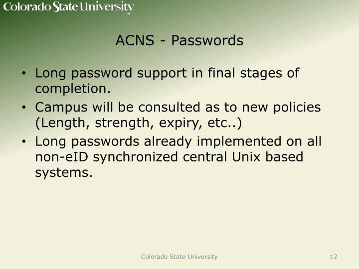 ACNS - Passwords