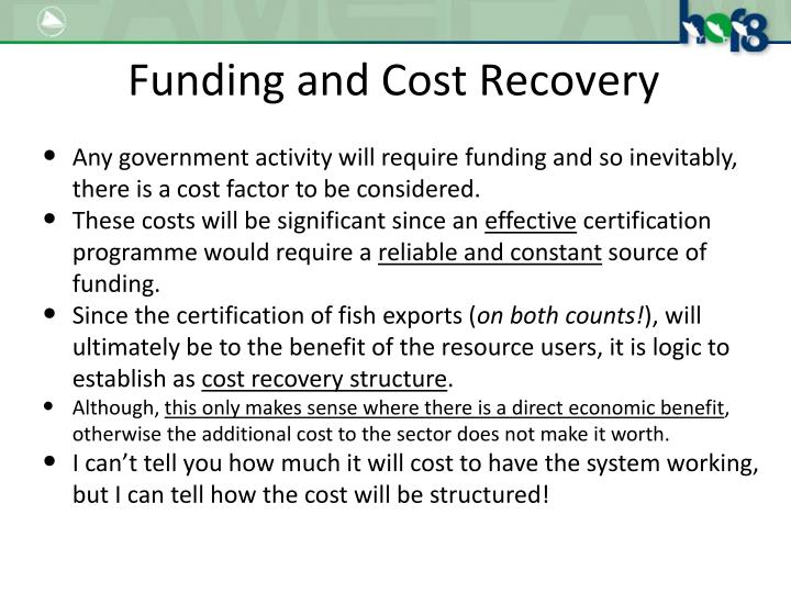 Funding and Cost Recovery
