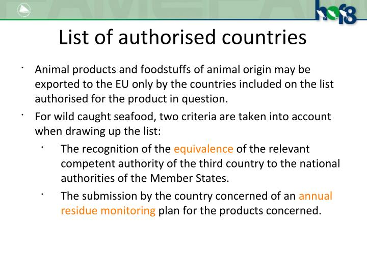List of authorised countries