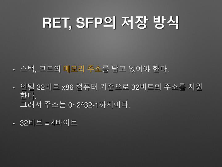 RET, SFP의 저장 방식