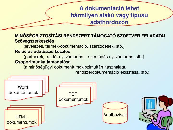 A dokumentáció lehet bármilyen alakú vagy típusú adathordozón