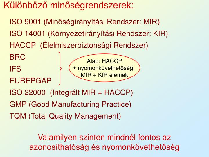 Különböző minőségrendszerek:
