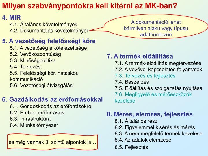 Milyen szabványpontokra kell kitérni az MK-ban?