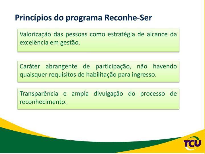Princípios do programa Reconhe-Ser