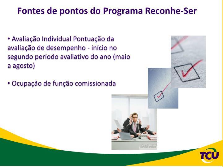 Fontes de pontos do Programa Reconhe-Ser