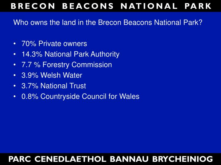 Who owns the land in the Brecon Beacons National Park?