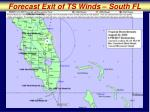 forecast exit of ts winds south fl