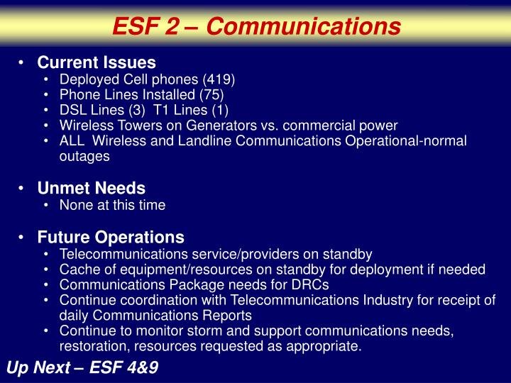 ESF 2 – Communications