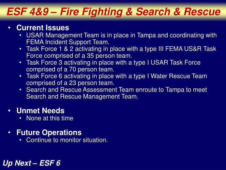 ESF 4&9 – Fire Fighting & Search & Rescue