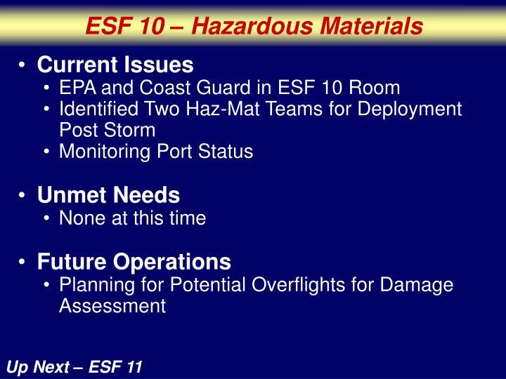 ESF 10 – Hazardous Materials