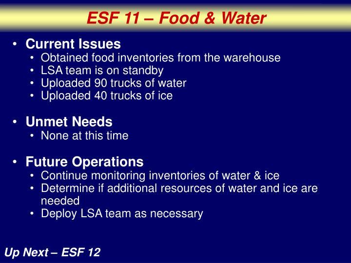 ESF 11 – Food & Water