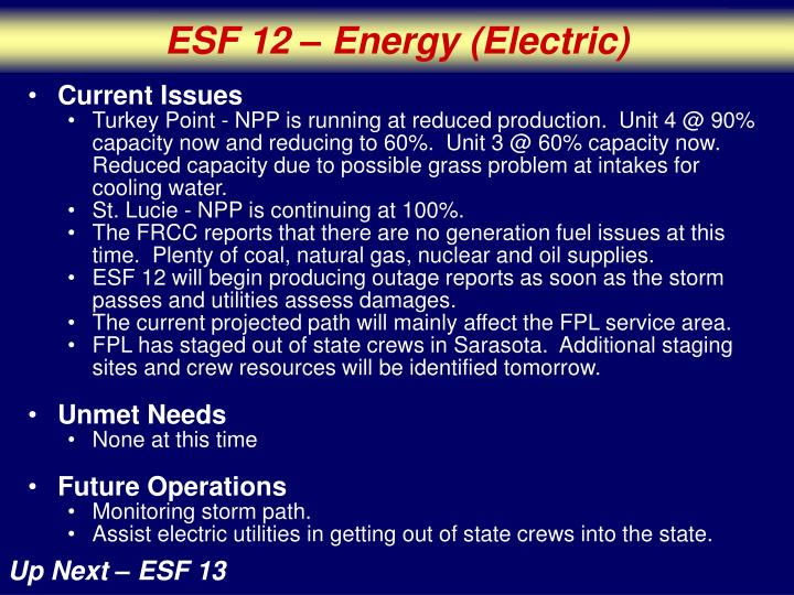ESF 12 – Energy (Electric)