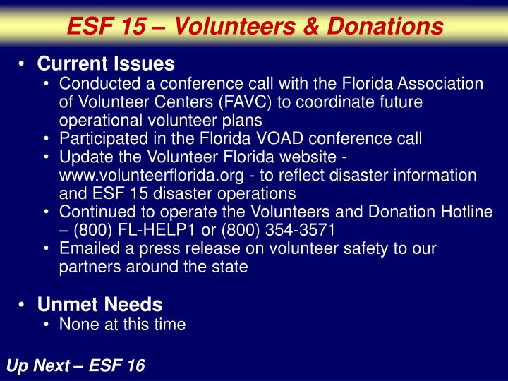 ESF 15 – Volunteers & Donations
