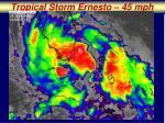 tropical storm ernesto 45 mph
