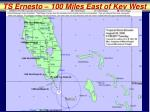ts ernesto 100 miles east of key west